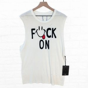 NWT UNIF F*ck On Cut Off Distressed Scoop Neck Top